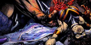 Rzecz miażdży głowę Reeda Richardsa, Giant Man odgryza ją Blobowi, Magneto zostaje zdekapitowany przez Cyclopsa, a Doktorowi Strange'owi od myślenia głowa dosłownie wybucha (seria Ultimatum)