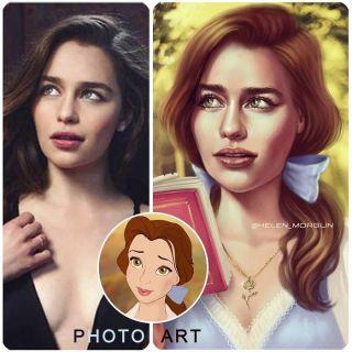 Emilia Clarke jako Bella z Pięknej i bestii