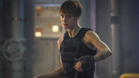 Terminator: Mroczne przeznaczenie - bohaterowie filmu na okładce promujacej produkcję