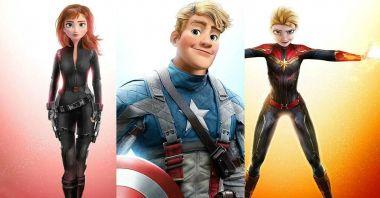 Postacie z Krainy lodu jako Avengers? Elsa w roli Kapitan Marvel na ciekawych grafikach