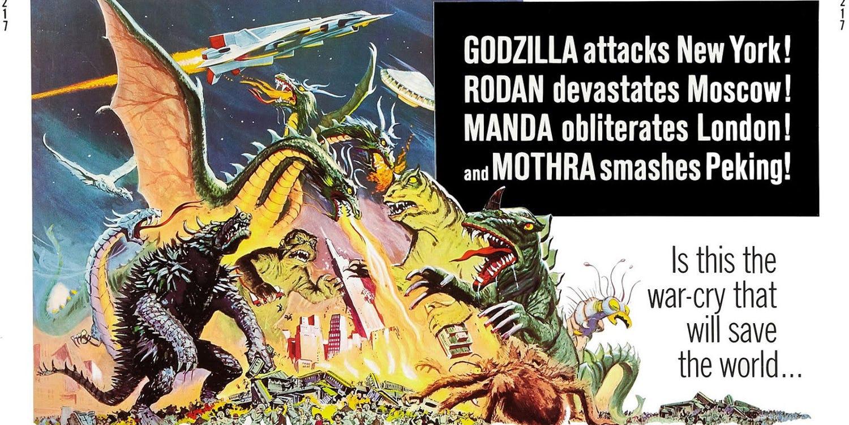"""W wielu momentach film nawiązuje do """"Zniszczyć wszystkie potwory"""" z 1968 roku, produkcji, w której wytwórnia Toho po raz pierwszy zderzyła ze sobą Godzillę, Mothrę, Rodana i Króla Ghidorę. Już na początku historii widzimy jednego z demonstrantów, który trzyma kartę z wymownym napisem: """"Zniszczyć wszystkie potwory!""""."""